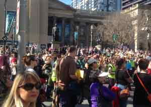 Crowd at the State Library during speeches