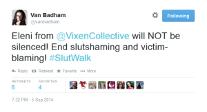 Fellow SlutWalk speaker Van Badham supports Eleni