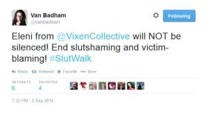 Fellow SlutWalk speaker Van Badham supports Eleni